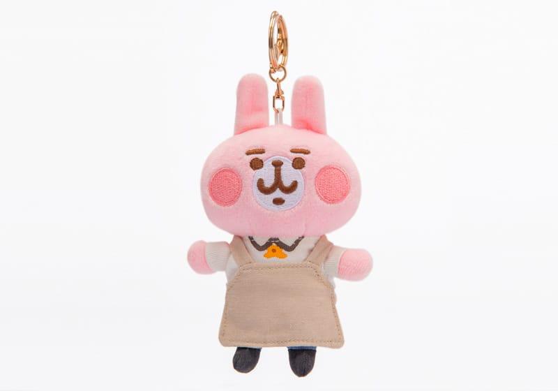 高鐵聯名絨毛鑰匙圈-粉紅兔兔服勤員