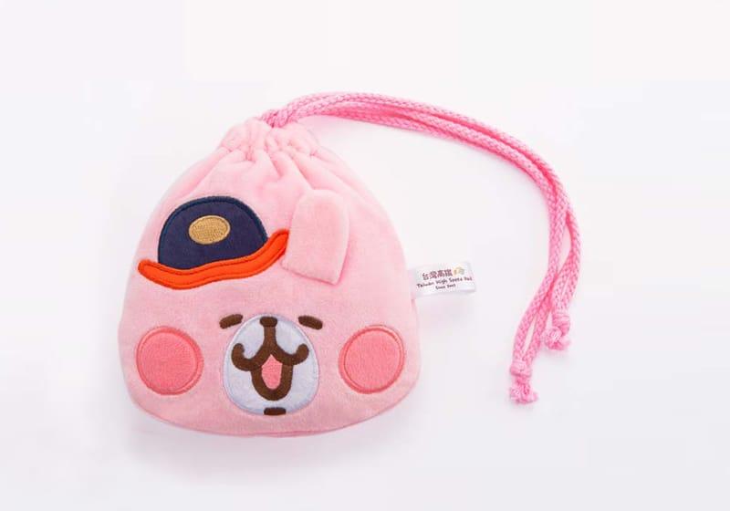 高鐵聯名絨毛束口袋-粉紅兔兔